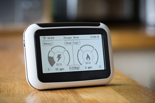 Smart Meter Showing Carbon Emissions
