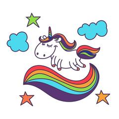 Illustration of cute cartoon unicorn. Vector