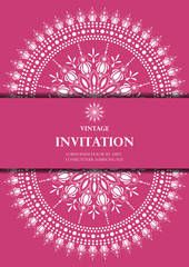 invitation card vintage design with white mandala pattern on pink background vector