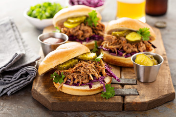 Pulled pork sandwiches with cabbage and pickles Wall mural