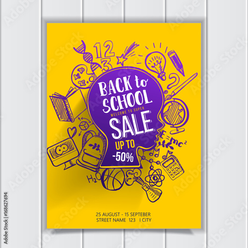 back to school sale poster with typography on sketch graphics vector illustartion kids face contour with doodle icons education supplies creative idea of