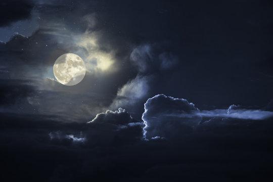 Cloudy full moon sky at night