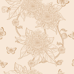 Chrysanthemum pattern on vintage  background.Flower wallpaper by hand drawing.Butterfly with flower vintage wallpaper vector.