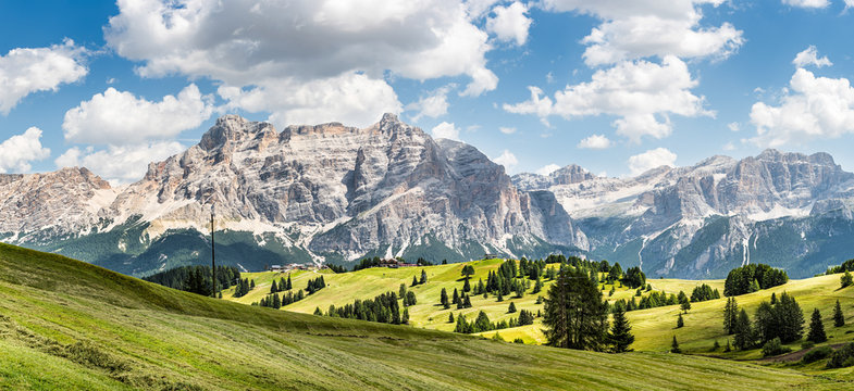 wide panorama of  alta badia region on summer in northern italy