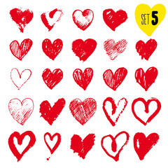 Set of hand drawn hearts. Red color. Freehand drawing. Vector illustration. Isolated on white background