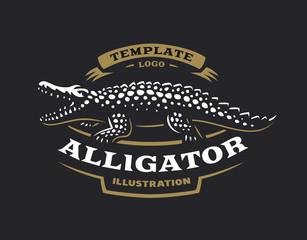 Crocodile logo - vector illustration. Alligator emblem design on black background