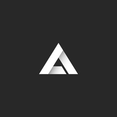 Triangle logo gradient white stripe style, sharp corner geometric overlapping shape, idea abstract letter A or delta symbol emblem
