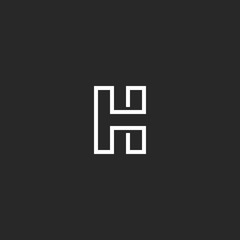 Letter H logo monogram, monoline trendy style outline initial emblem, white solid line shape, typography design element mockup
