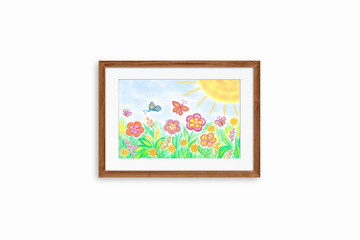 "Colorful pencils drawing ""Summer "" in wooden frame on white wall. Interior decor mock up for children's area"