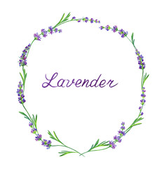 Watercolor lavender frame and the inscription, figure isolated on white background with clipping path.
