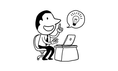 businessman working with laptop get great idea. creative concept. isolated vector illustration outline hand drawn doodle line art cartoon design character.