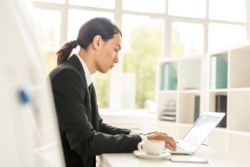 Profile view of young Asian manager preparing financial accounts while working on laptop, interior of spacious office with panoramic windows on background