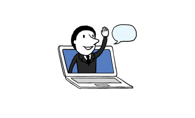 Businessman say hello on laptop screen. online deal conference concept. isolated vector illustration outline hand drawn doodle line art cartoon design character.