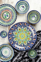 Ethnic Uzbek ceramic tableware.