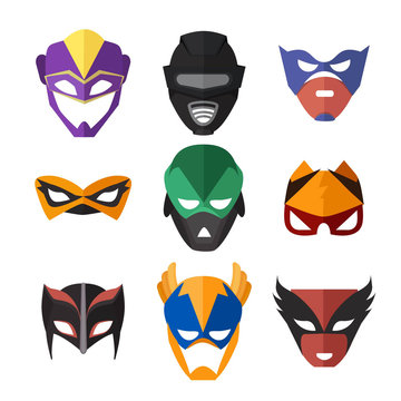 Vector illustrations of superheroes masks
