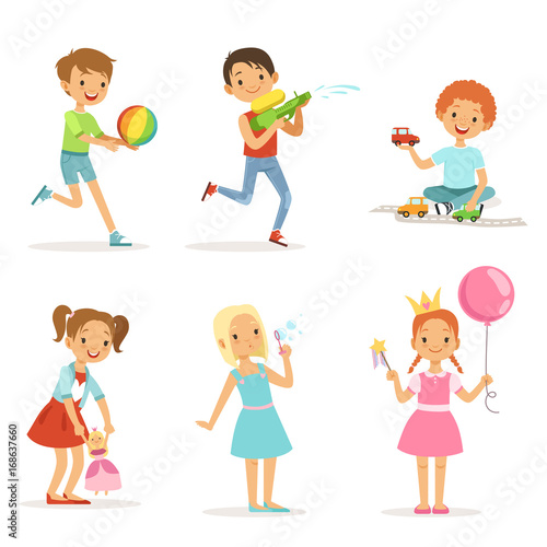 Children Playing At Different Games And Toys Vector Characters Set