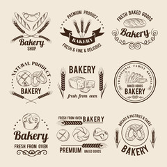 Monochrome vector set of bakery shop logos or labels