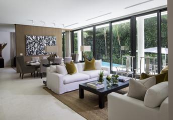 Florida home living room overlooking pool