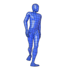 Wireframe human figure walking and looking at side