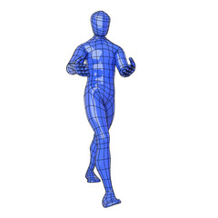 Wireframe human figure walking with something in his hands