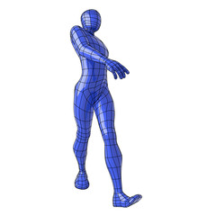 Wireframe human figure cool walking style capture