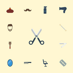 Flat Icons Blow-Dryer, Elbow Chair, Razor And Other Vector Elements. Set Of Barbershop Flat Icons Symbols Also Includes Straight, Hairstyle, Cotton Objects.