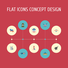 Flat Icons Identity, Aircraft, Awareness And Other Vector Elements. Set Of Memorial Flat Icons Symbols Also Includes Plane, Spectacles, Man Objects.