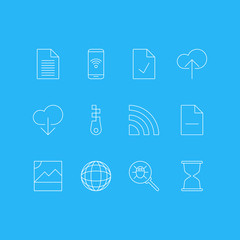 Vector Illustration Of 12 Network Icons. Editable Pack Of Telephone, Data Upload, Bug And Other Elements.