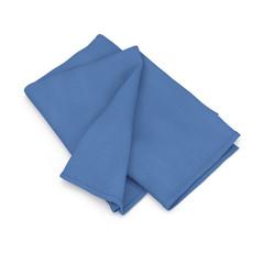 Folded blue bath towel isolated on white. 3D illustration