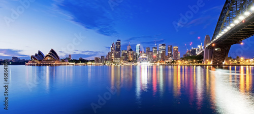 Sydney skyline and harbor bridge during sunrise, New South Wales Australia