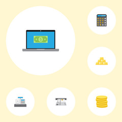 Flat Icons Till, Teller Machine, Small Change And Other Vector Elements. Set Of Finance Flat Icons Symbols Also Includes Machine, Bars, Computer Objects.