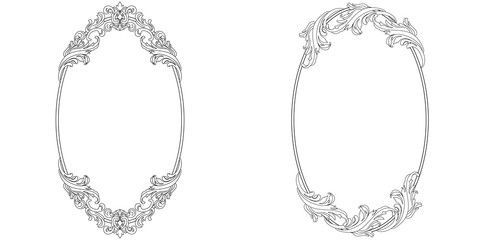 Set of oval vintage border frame engraving with retro ornament pattern in antique baroque style decorative design. Vector