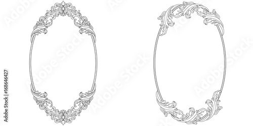 Set Of Oval Vintage Border Frame Engraving With Retro Ornament Pattern In Antique Baroque Style Decorative