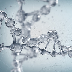 DNA molecules on the science background. 3d rendering