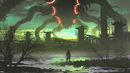 man looking at giant monster standing above abandoned factory, digital art style, illustration painting