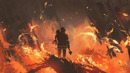 firefighter holding girl standing in burning buildings, digital art style, illustration painting
