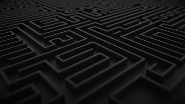 Black labyrinth background with dof focus