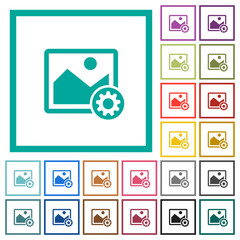 Image settings flat color icons with quadrant frames