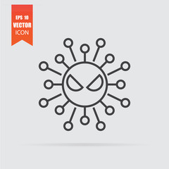 Virus icon in flat style isolated on grey background.