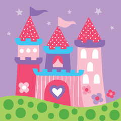Tale princess castle vector illustration