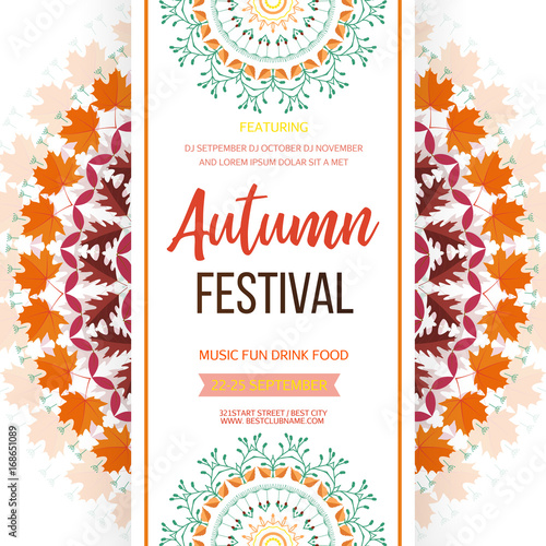 Autumn festival background invitation banner with fall leaves autumn festival background invitation banner with fall leaves vector illustration stopboris Images
