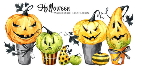 Watercolor border, set of cakes with cartoon pumpkins. Halloween holiday illustration. Funny dessert. Magic, symbol of horror. Baby background. Can be use in holidays design.
