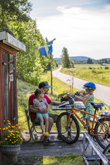 Family biking in Sweden