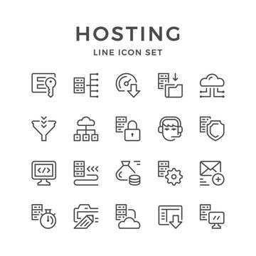 Set line icons of hosting