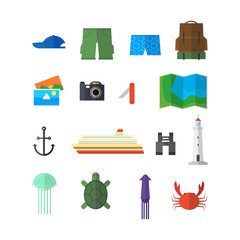 Summer objects vector set for travel and adventure with white background.