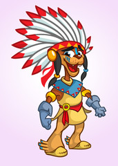 Native American Character cartoon. Vector illustration. Thanksgiving symbol