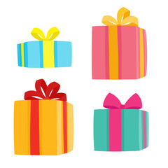 Christmas presents collection. Vector illustration of cartoon gifts