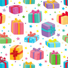 Christmas presents seamless pattern. Vector illustration of cartoon gifts