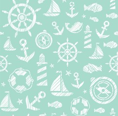 Nautical background, seamless, green, vector. The attributes of a sea voyage on a light green background. White pictures drawn with diagonal hatching. Vector pattern.