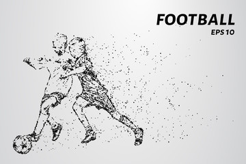Football of the particles. Game time a soccer player dribbling. Graphic concept football.